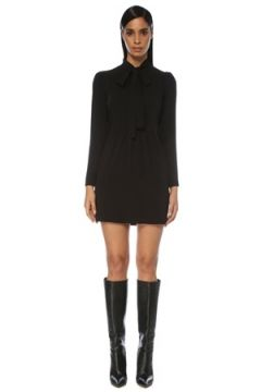 Academia Kadın Siyah Bağcıklı Uzun Kol Mini Krep Elbise 42(121108283)