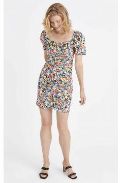 Kadın Appleline Kare Yaka Çiçekli Poplin Elbise(126604036)