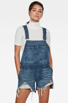 G-Star RAW Women Faeroes Boyfriend Short Overall Ripped Medium blue(117927176)