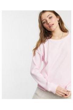 Chelsea Peers - Top da casa in jersey a coste rosa con maniche a palloncino-Crema(124785472)
