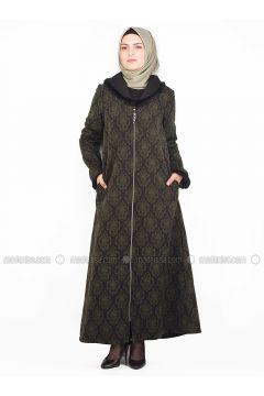 Black - Khaki - Unlined - Crew neck - Coat - NAKŞİN(110339595)