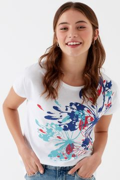 Mavi Kelebek Baskılı Penye Beyaz T-Shirt(126399245)