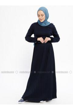 Navy Blue - Crew neck - Unlined - Acrylic - Dresses - Dadali(110331671)