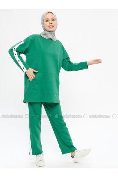 Green - Cotton - Crew neck - Tracksuit Set - Hatun Atila(110332295)