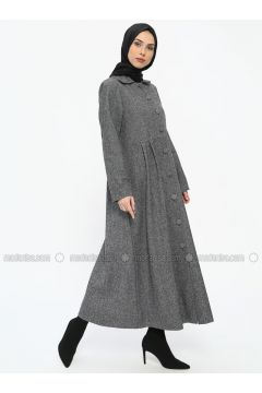 Gray - Stripe - Unlined - Round Collar - Topcoat - ECESUN(110327812)