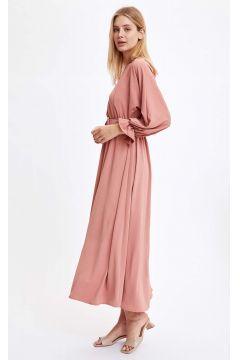 DeFacto Kadın Basic Bel Oturtmalı Dokuma Elbise(125929473)