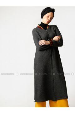 Smoke-coloured - Unlined - Crew neck -- Topcoat - Meryem Acar(110327071)