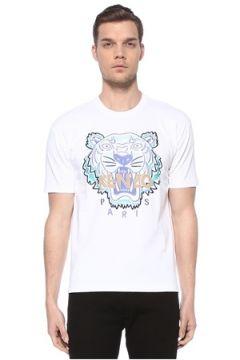 Kenzo Erkek Beyaz Kaplan Detaylı Logolu Basic T-shirt XXL EU(116665607)