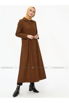 Mustard - Stripe - Unlined - Round Collar - Topcoat - ECESUN(110327815)
