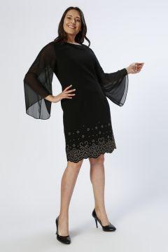 Ekol Taş İşlemeli Siyah Elbise(113961821)