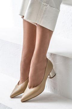 Elle Shoes MAXENE Hakiki Deri Toprak Kadın Topuklu Ayakkabı(122711173)