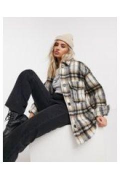 Bershka - Camicia giacca colore a quadri colore nero e cammello-Multicolore(122409080)