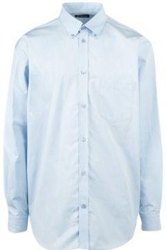Balenciaga Erkek Mavi Polo Yaka Logolu Oversize Poplin Gömlek 40 IT(114438653)