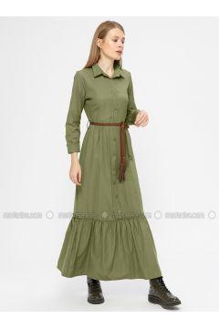 Khaki - Point Collar - Unlined - Dresses - Kaktüs(110319011)