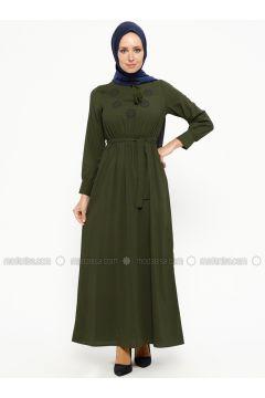 Khaki - V neck Collar - Unlined - Dresses - SUEM(110315272)