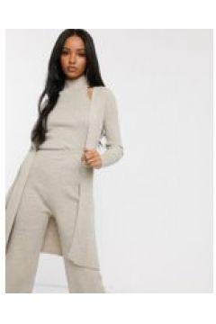 Fashionkilla - Cardigan lungo in maglia color avena in coordinato-Crema(120382198)