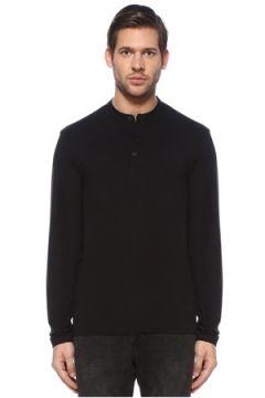 Allsaints Erkek Siyah Yakası Düğmeli Uzun Kollu T-shirt S EU(126589436)