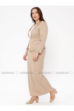 Fully Lined - Yellow - Shawl Collar - Plus Size Evening Suit - Güzey(110337583)