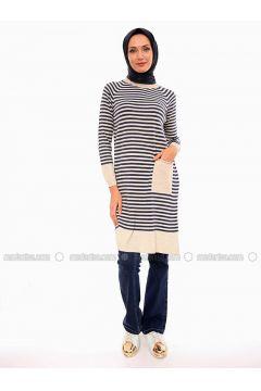 Beige - Stripe - Crew neck - Acrylic -- Tunic - Por La Cara(110318372)