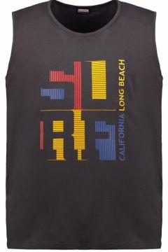 "Adamo Fashion: Tanktop mit gummiertem \""California Long Beach\""-Print, 7XL, Grau(121717262)"