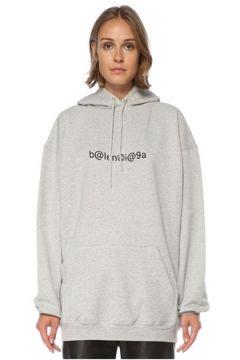 Balenciaga Kadın Oversize Gri Kapüşonlu Logolu Sweatshirt S EU(121299361)