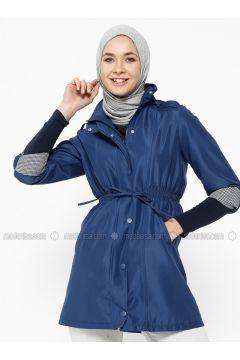 Navy Blue - Indigo - Fully Lined - Polo neck - Trench Coat - Dadali(110323035)