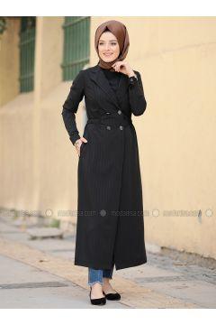 Black - Fully Lined - Shawl Collar - Topcoat - Zehrace(110331440)