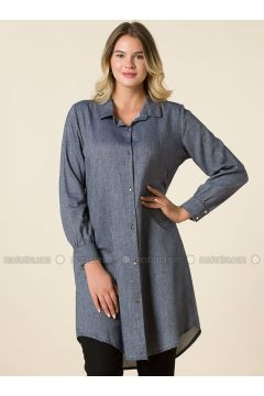 Navy Blue - Point Collar - Plus Size Tunic - RMG(110323005)