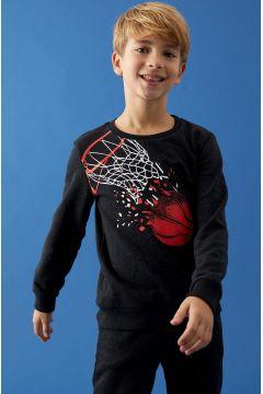 DeFacto Erkek Çocuk Baskılı Sweatshirt ve Jogger Eşofman Alt Takım(125929280)