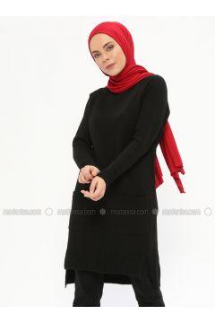 Black - Crew neck - Acrylic -- Tunic - İLMEK TRİKO(110329220)