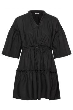 Huilaus Solid Dress Kurzes Kleid Schwarz MARIMEKKO(118145704)
