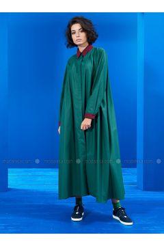 Green - Navy Blue - Point Collar - Unlined - Dresses - Mevra(110323499)