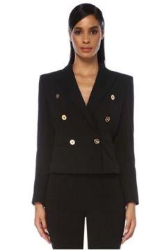 Versace Kadın Siyah Kruvaze Crop Yün Ceket 38 IT(120730933)