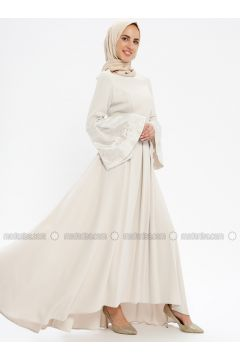 Beige - Fully Lined - Crew neck - Muslim Evening Dress - Pia(110335747)