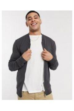 New Look - Bomber con zip grigio in jersey(120240025)