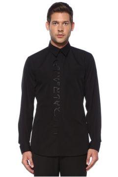 Givenchy Erkek Siyah Polo Yaka Nakışlı Logolu Gömlek 40 IT(119785529)