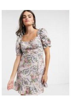 Neon Rose - Vestito milkmaid corto con maniche a sbuffo e stampa vintage a fiori-Viola(120331534)
