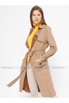 Beige - Unlined - Shawl Collar - Trench Coat - İkoll(110320032)