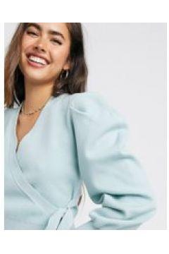Fashion Union - Ballet - Cardigan a portafoglio con maniche a palloncino-Verde(120964796)