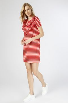 Koton Çizgili Fırfırlı Kırmızı-Beyaz Elbise(124105896)