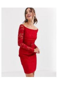 Paper Dolls - Vestito in pizzo rosso con cintura e scollo alla Bardot(120326918)