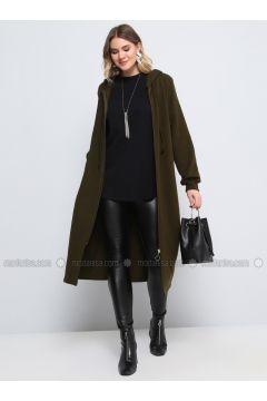 Khaki - Acrylic -- Plus Size Tunic - Alia(110329962)
