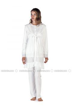 Ecru - Crew neck - Cotton - Viscose - Pyjama - Artış Collection(110332886)