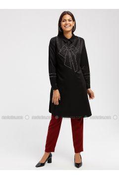 Black - Point Collar - Tunic - MOODBASİC(110339181)
