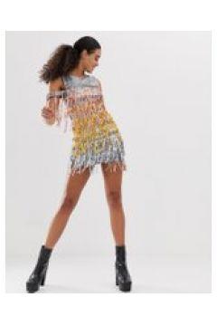 Jaded London - Vestitino con frange e paillettes-Multicolore(120328580)