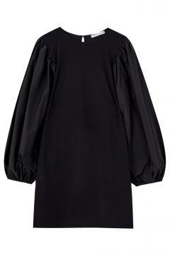Schwarzes Kleid mit Puffärmeln(105815309)