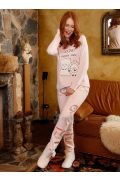 Salmon - Multi - Cotton - Pyjama - Siyah inci(110331139)