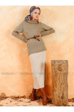 Beige - Unlined - Skirt - Muni Muni(110330513)