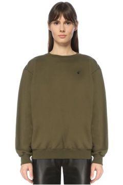 Off-White Kadın Haki Çapraz Çiçek Baskılı Sweatshirt XS EU(123319882)