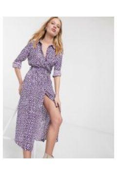 & Other Stories - Vestito camicia lilla con stampa, bottoni e cintura-Viola(120312067)